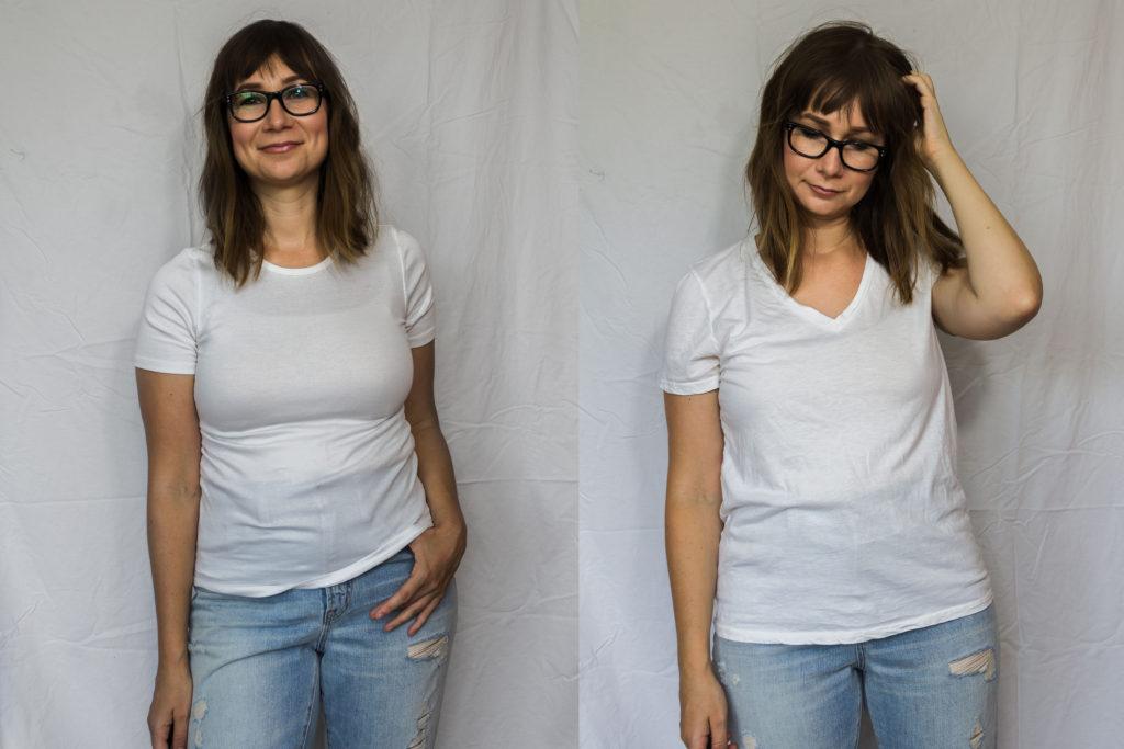 Everlane T-Shirt Showdown Review: The Cotton V & the Micro Rib