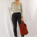 Black Mom Jeans and a Pop of Rust-3