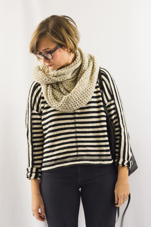 Striped Sweatshirt and Circle Scarf-2