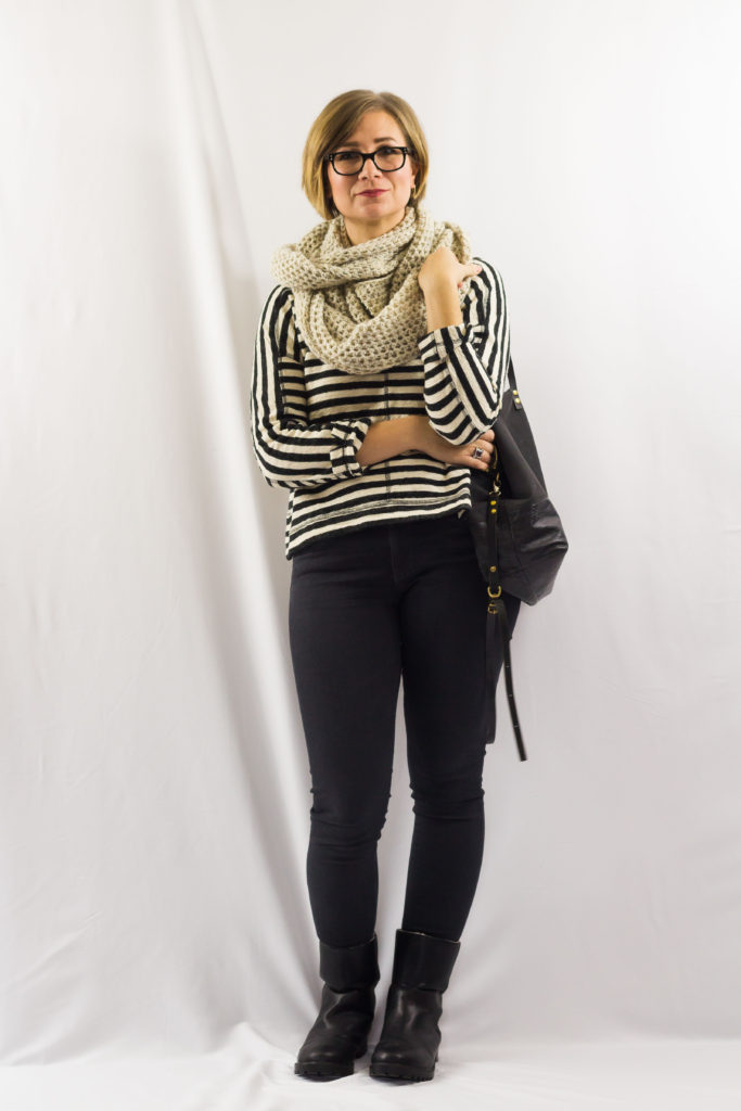 Striped Sweatshirt and Circle Scarf-2