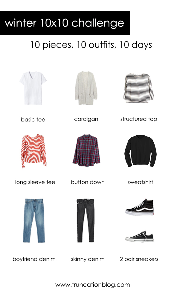 My winter 10×10 challenge clothing picks