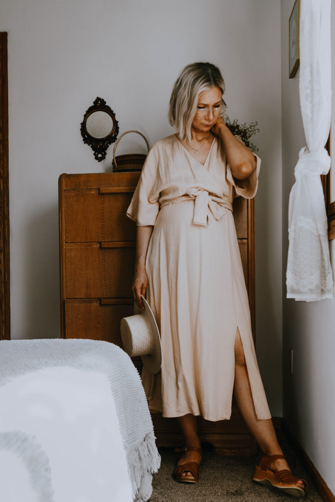 What I Wore: A Week of Dresses. Cream colored wrap dress, clogs & straw hat