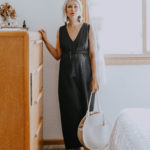 What I Wore Last Week: black jumpsuit and white circle bag