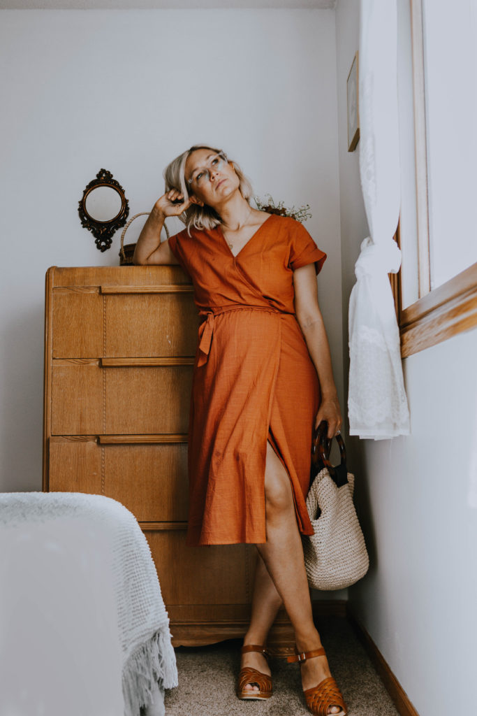 What I Wore: A rust colored wrap dress styled with clogs