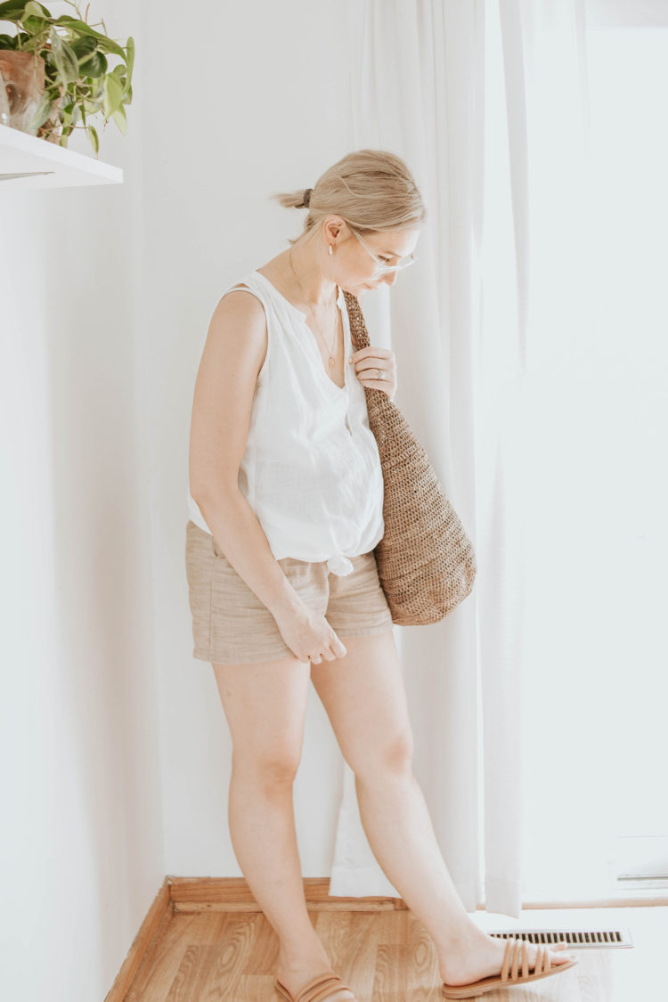 30 Days of Summer Style Day 9: white blouse and linen shorts