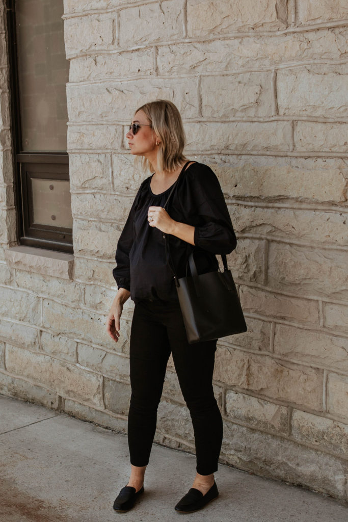 An all black outfit, outfits that transition to fall, maternity style, black loafers, everlane review, everlane day loafer, everlane day tote mini, everlane air ruched blouse, all black summer outfit, blonde bob