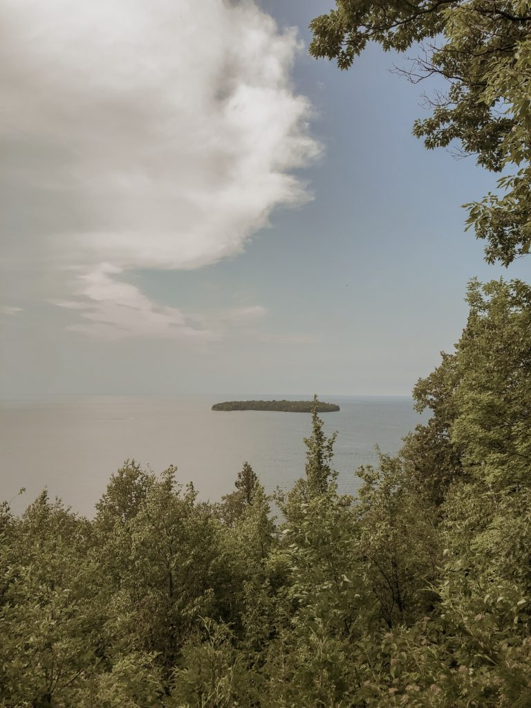 view of lake michigan from pensinsula state park in wisconsin