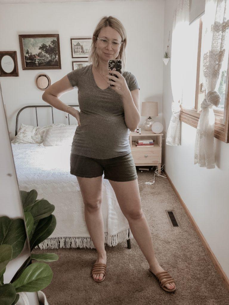 Gray Tee, Green Khaki Linen Shorts, Madewell Sandals, Maternity Outfits