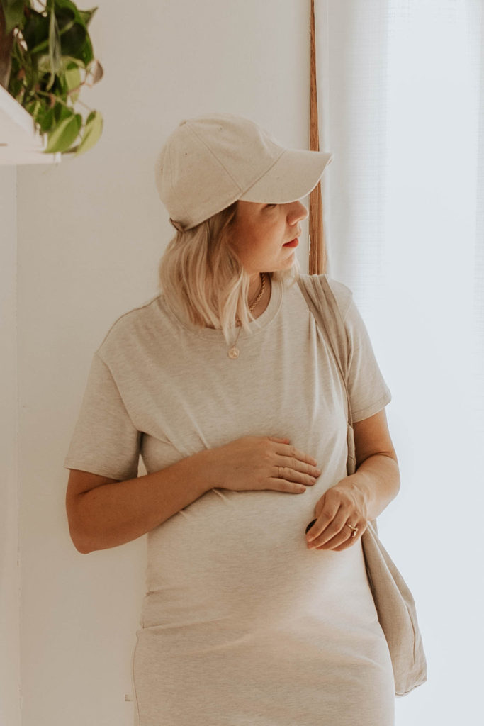 cream tee dress, linen baseball hat, neutral outfit