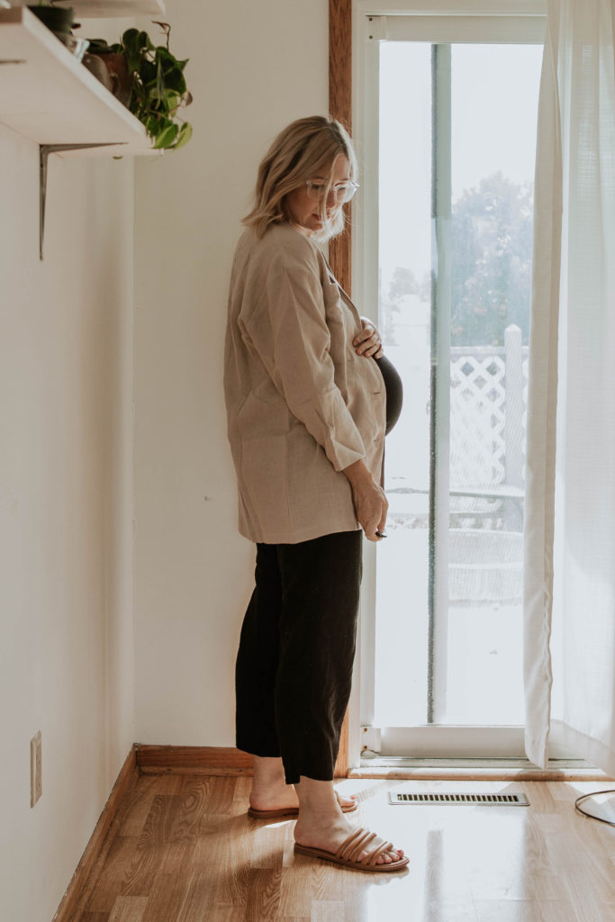 linen jacket, black and brown outfit, black wide leg pants