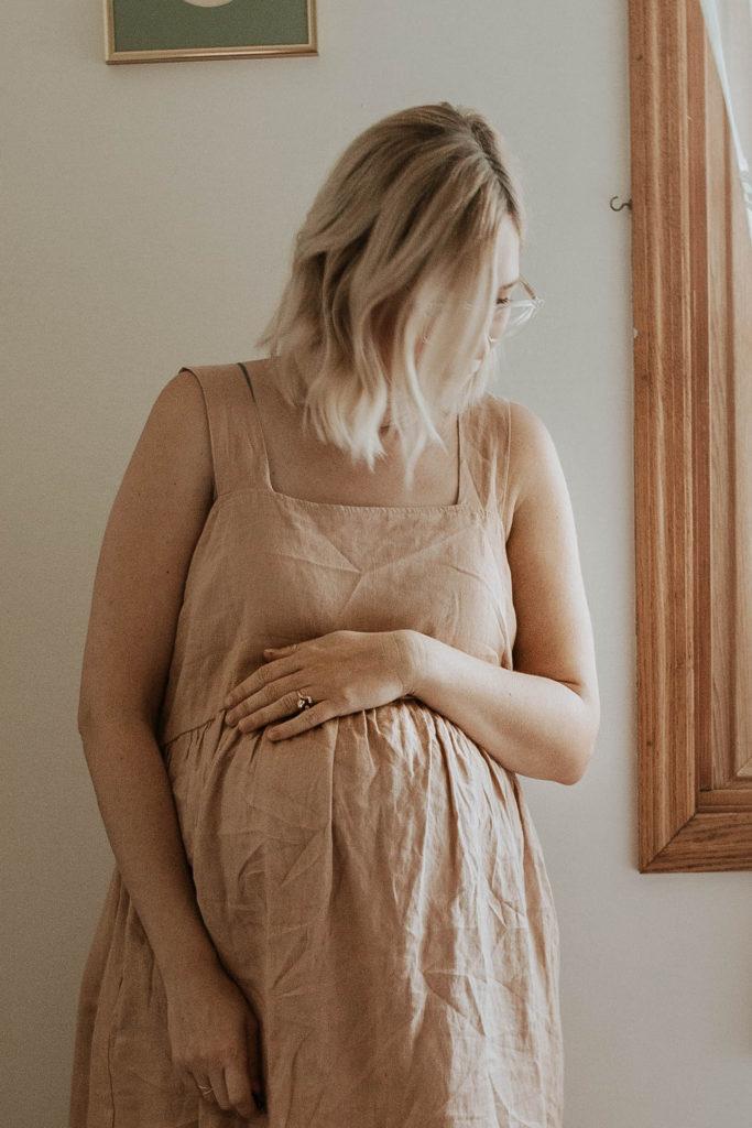 blush linen dress, white sandals, linen maternity dress