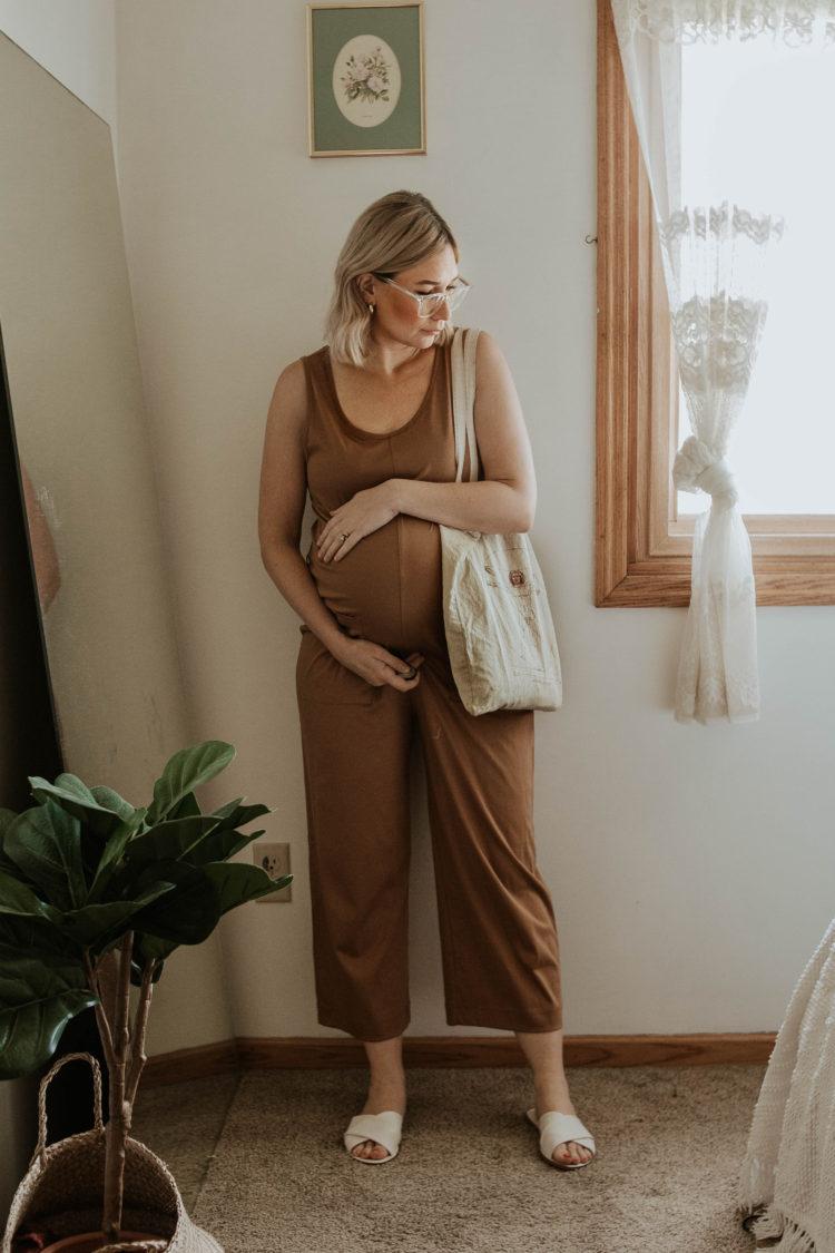dressing for comfort, camel colored jumpsuit, cotton jumpsuit, white sandals, maternity jumpsuit