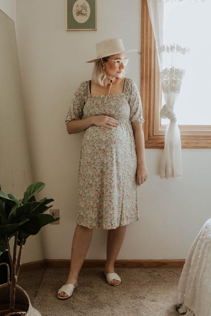 floral dress, smocked dress, white sandal, straw hat