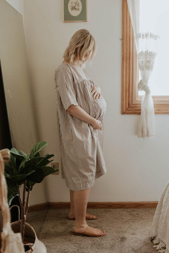 third trimester bump, tent dress, striped dress
