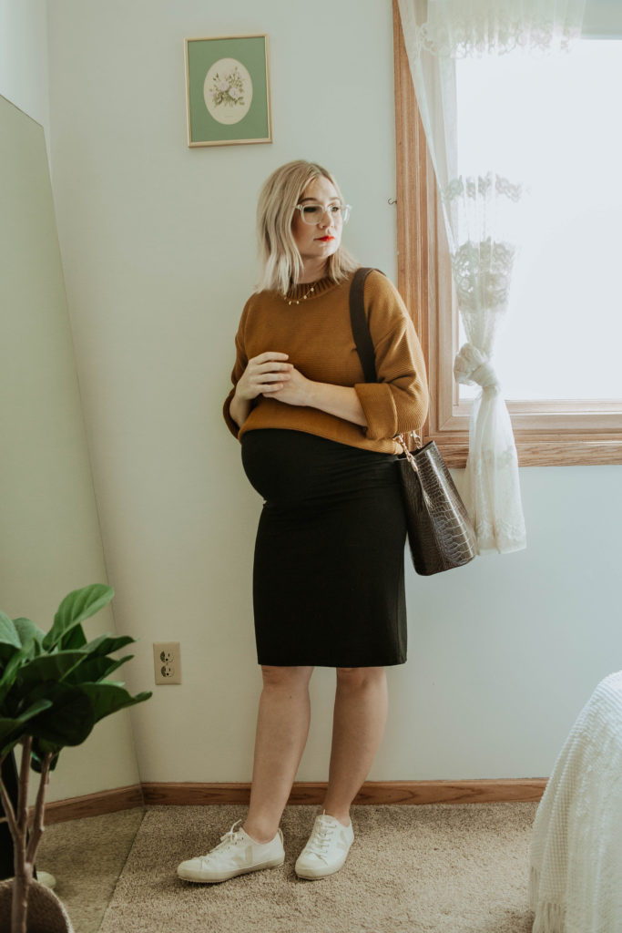 everlane link stitch crew sweater, storq dress, veja sneakers, crocodile purse