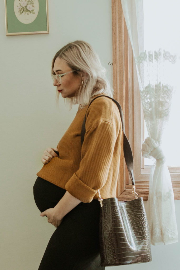third trimester fall outfits, everlane link stitch crew sweater, storq dress, crocodile purse