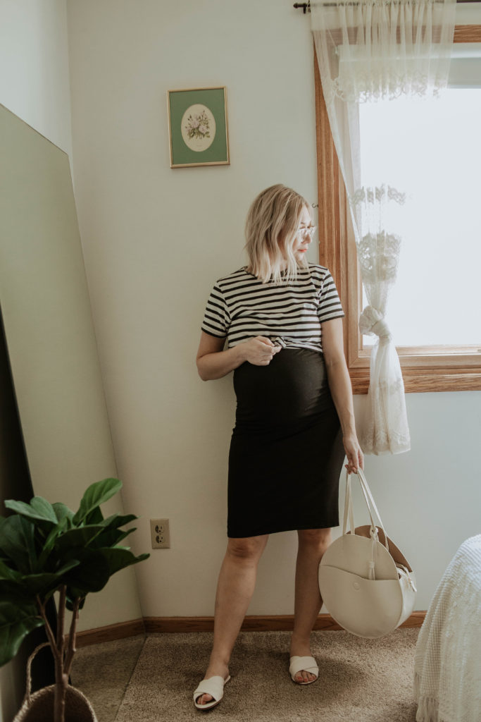 Transitional Summer to Fall Outfitsstorq review, storq dress, black and white striped tee, mott and bow striped tee, everlane day sandal, white circle bag