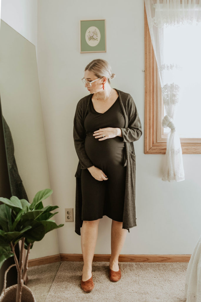 tee dress, brass clothing dress, everlane suede day flat, long charcoal cardigan maxi cardigan
