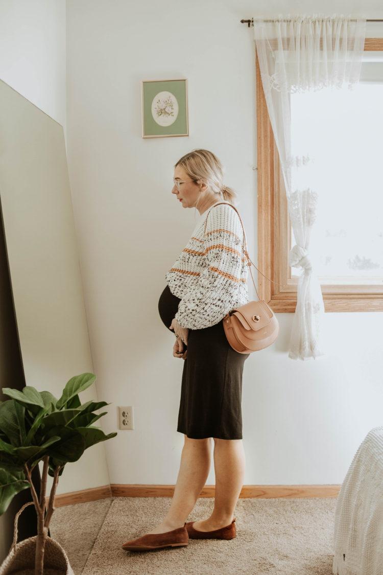 sezane sweater, storq dress, maternity dress, everlane suede day flat, friday by jwpei brown saddle bag