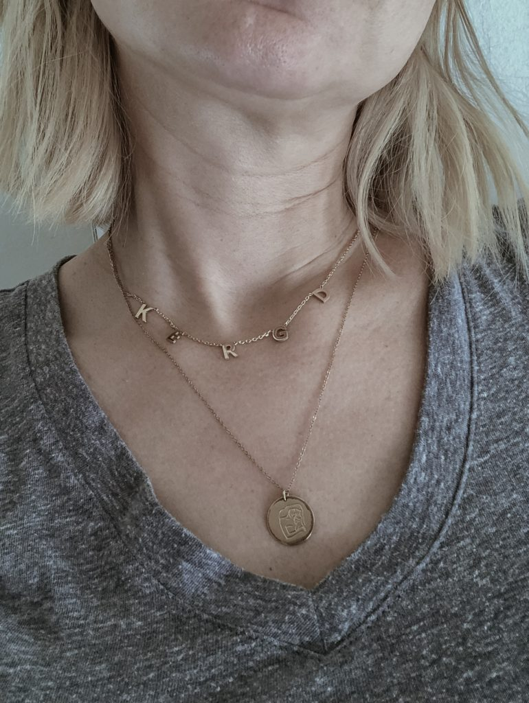 Gray Tee Shirt, Coin Necklace, Initial Choker Necklace, Mama Necklace