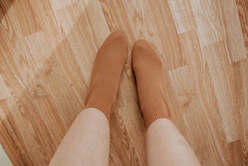 brown glove boot, cognac boot, reknit boot, everlane boot, glove boot