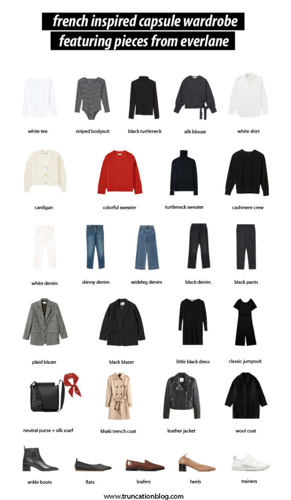 French Inspired Capsule Wardrobe, Capsule Wardrobe, French Five, French Capsule, Everlane Capsule Wardrobe, French Style, Parisien style