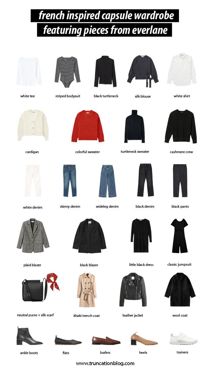 French Inspired Capsule Wardrobe, Capsule Wardrobe, French Five, French Capsule, Everlane Capsule Wardrobe, French Style, Parisien style