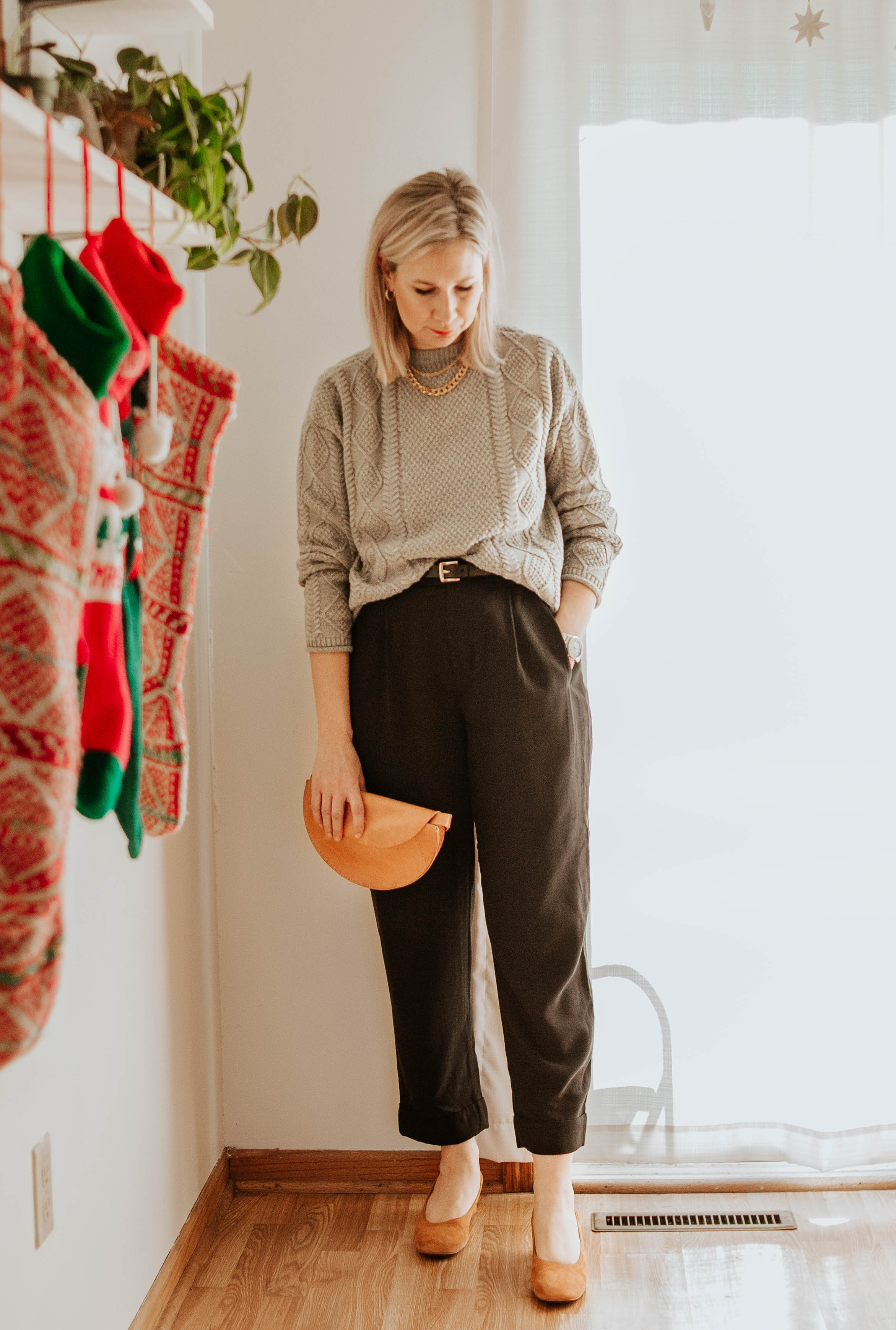 Mini Holiday Lookbook Featuring Ethical Fashion, tradlands fisher sweater, everlane pleat pants, tree fairfax bag, bumbag, belt bag, everlane day heels, brown suede heels, cognac heels