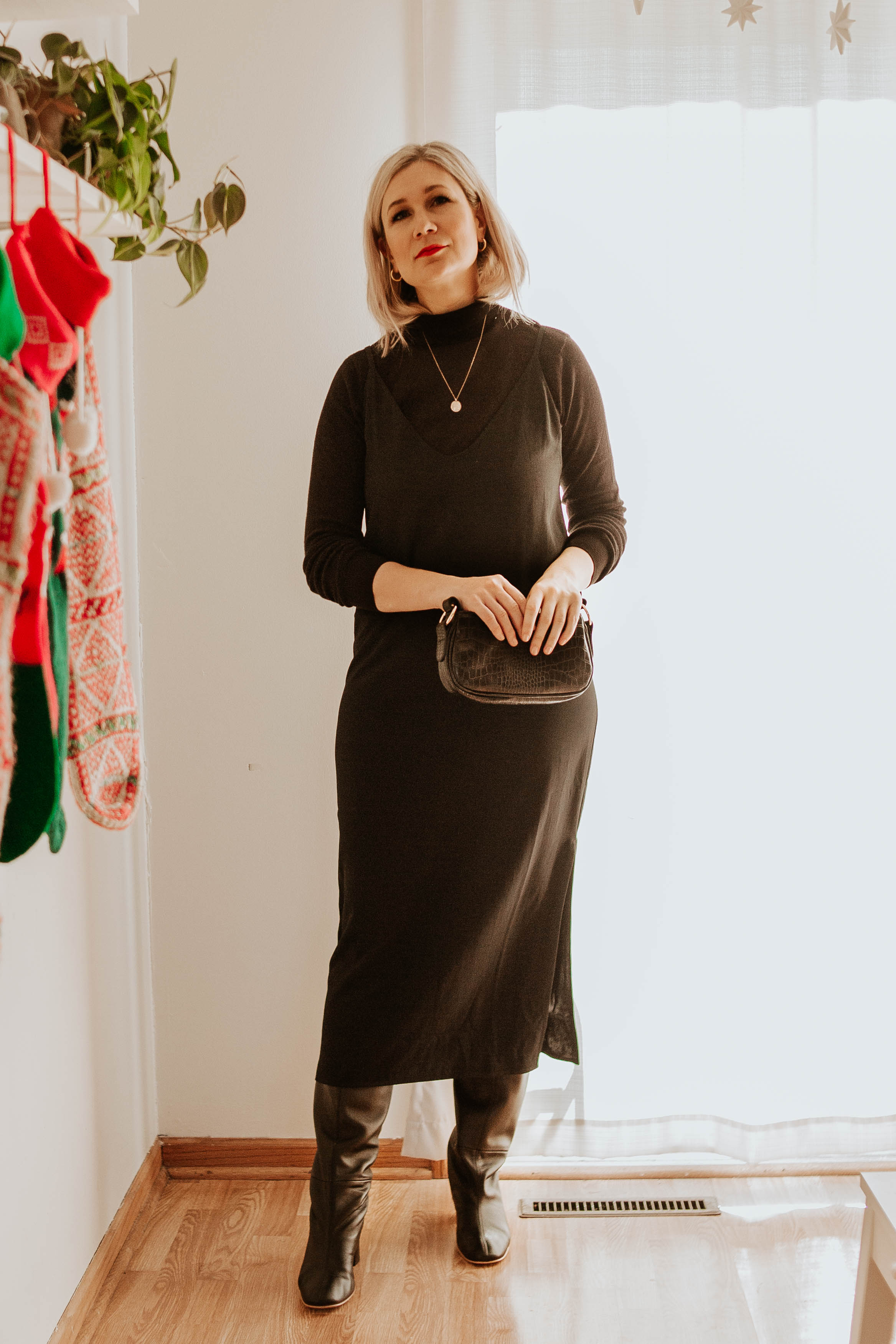 Mini Holiday Lookbook Featuring Ethical Fashion, black turtleneck sweater, everlane slip dress, black knee high boots, everlane knee high boots, mini croc bag