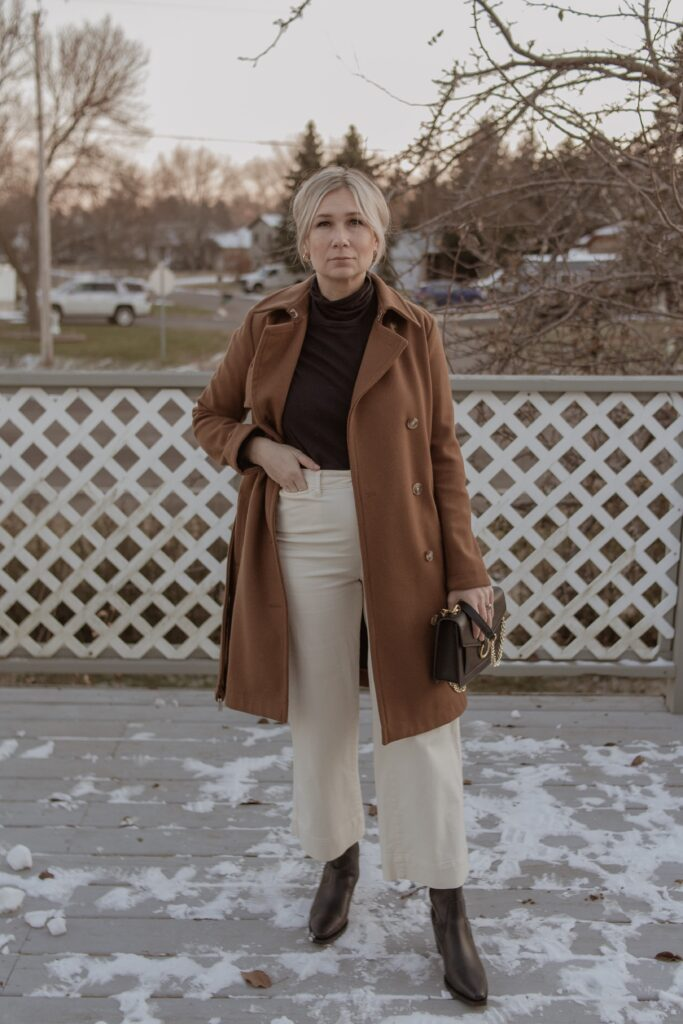 Recreating Outfits from Pinterest: camel trench coat: black turtleneck, white pants, black cowboy boots