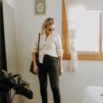 Styling Pinterest Outfits: Simple, Minimal Style, Everlane Crop Cardigan, Gap Denim, Everlane 90's Loafer in Bone, Everlane Mini Tote
