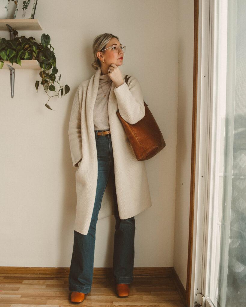 winter dressing, sweater coat, flare denim, orange brown boots, madewell transport tote, beige turtleneck