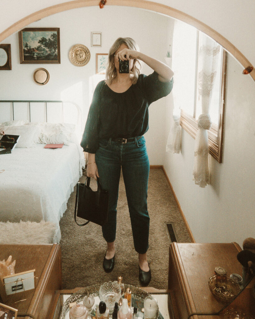 Weekend Outfit Roundup Vol. 1, Everlane Air Ruched Blouse, J Brand Jeans, Everlane Day Glove Flat, Everlane Mini Tote