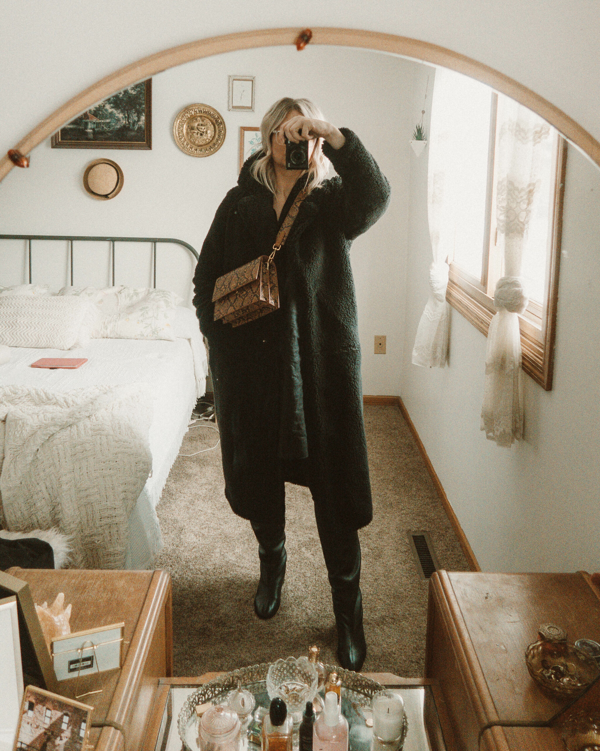 Weekend Outfit Roundup Vol. 1, Long Black Teddy Bear Coat, Sugar Candy Mountain Linen Dress, Everlane Knee High Boots, Snake Print Bag