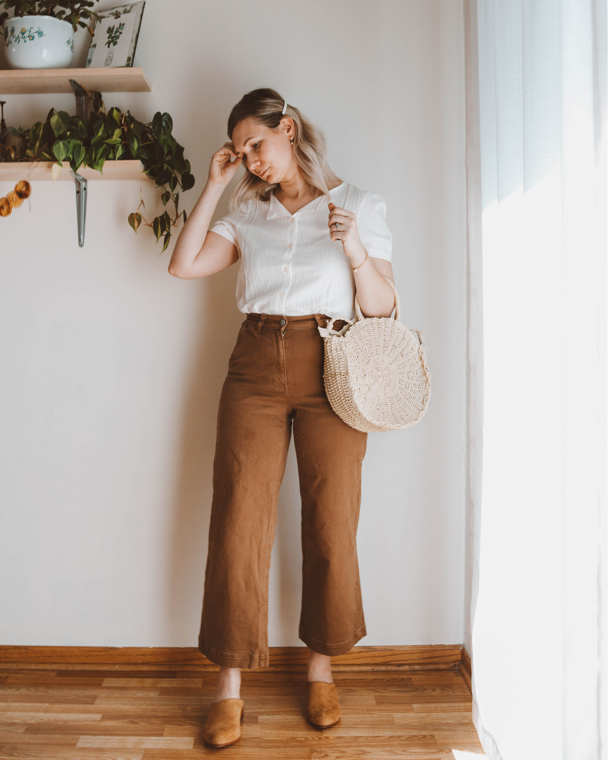 spring outfit ideas, everlane wide leg crop pants, tradlands blouse, circle straw bag, nisolo mules