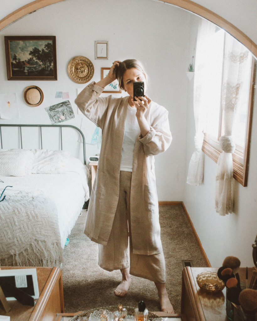 4 Lounge Wear Outfits that Will Keep you Feeling Cozy, linen robe, linen wide leg pants, everlane cut out tank