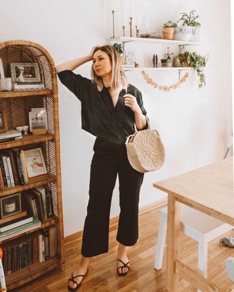 Easy Spring Outfits for Working at Home, navy blue cropped blouse, black wide leg pants, black strappy sandals, round circle straw bag