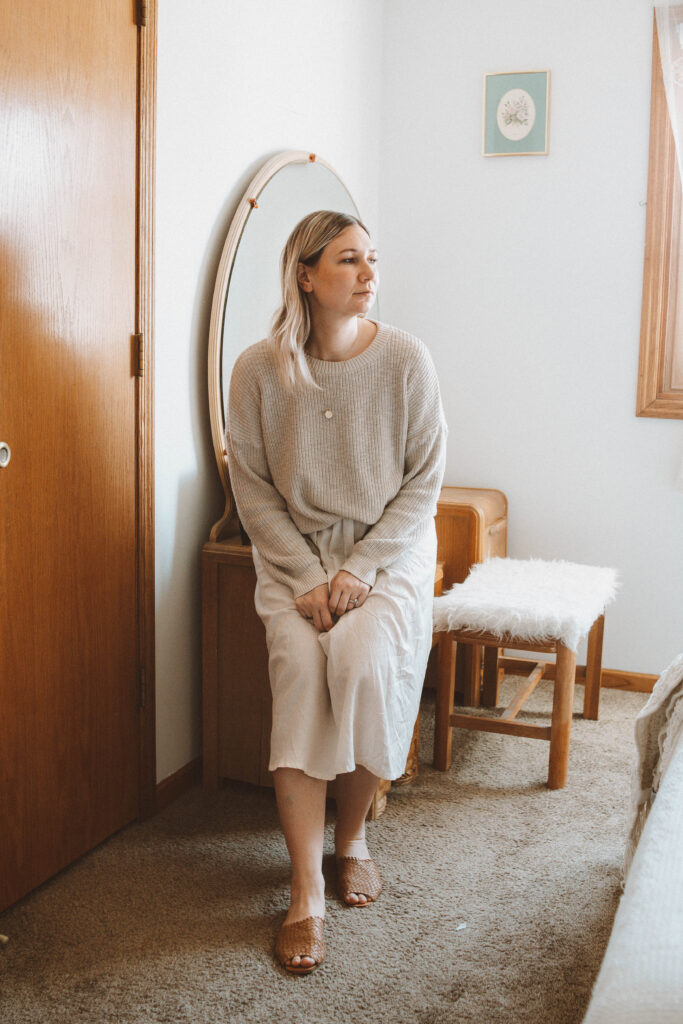 Spring Outfits: Lots of Linen and Flowy Fabrics, it is well l.a. crewneck sweater, cupro skirt, either/or nyc woven sandal slides