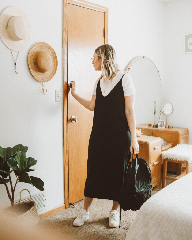 spring outfit ideas, everlane slip dress, everlane micro rib tee, everlane tread court sneakers, baggu backpack
