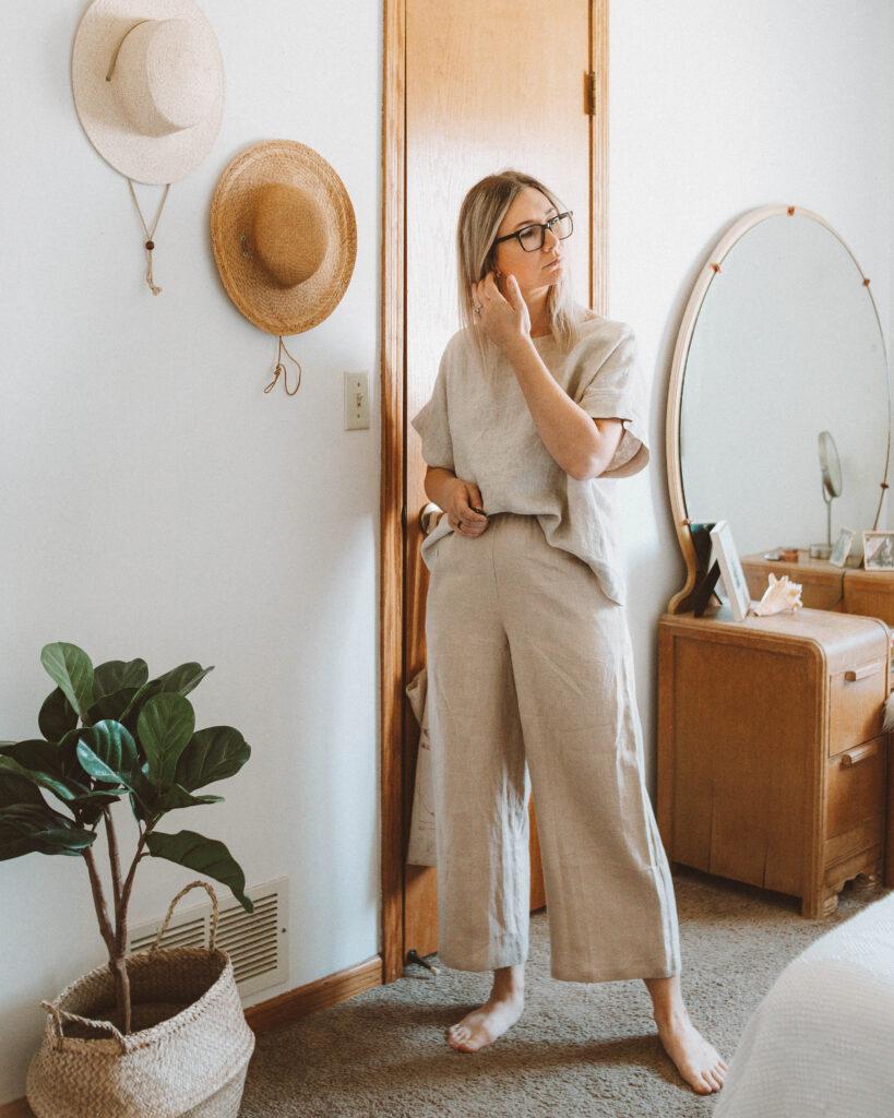 Linen Loungewear: 5 Outfit Ideas, elizabeth suzann georgia tee, wide leg linen pants