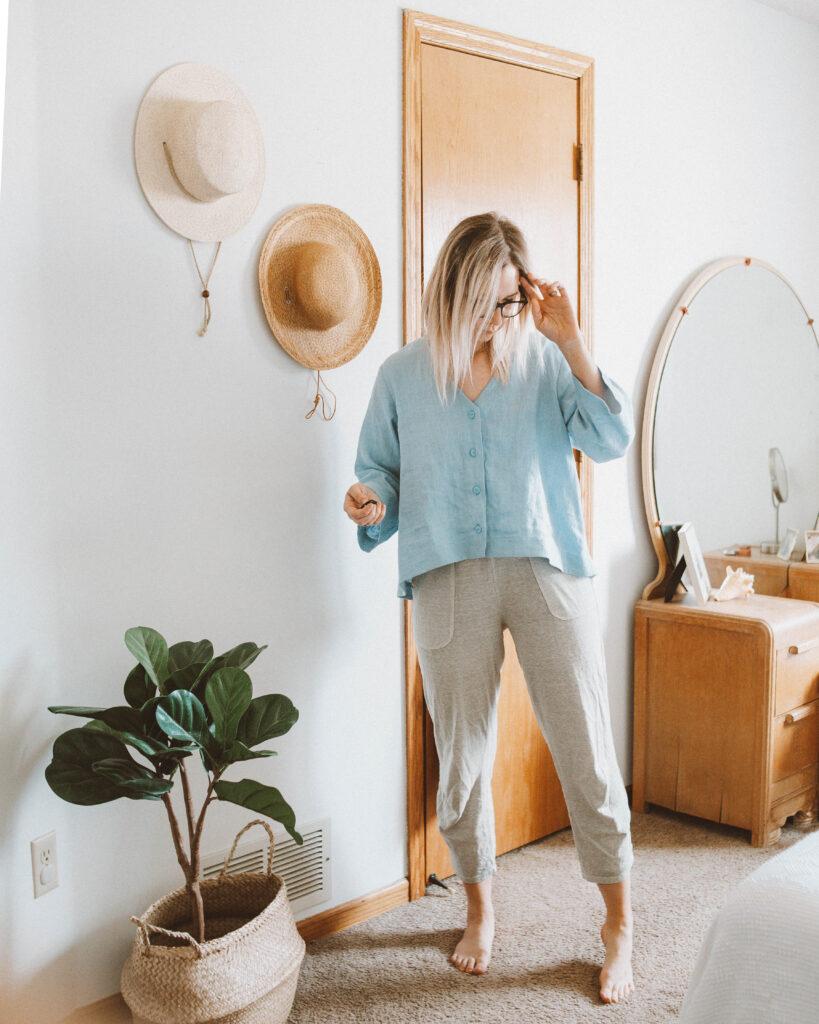 Linen Loungewear: 5 Outfit Ideas, pale blue blouse, powder blue linen top, linen lounge pants
