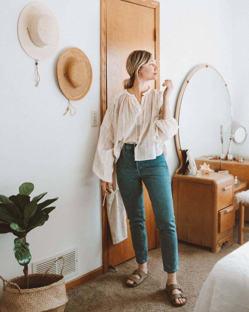 A Week of Outfits: Minimizing my Closet, christy dawn blouse, everlane 90's cheeky jeans, birkenstock arizona taupe suede