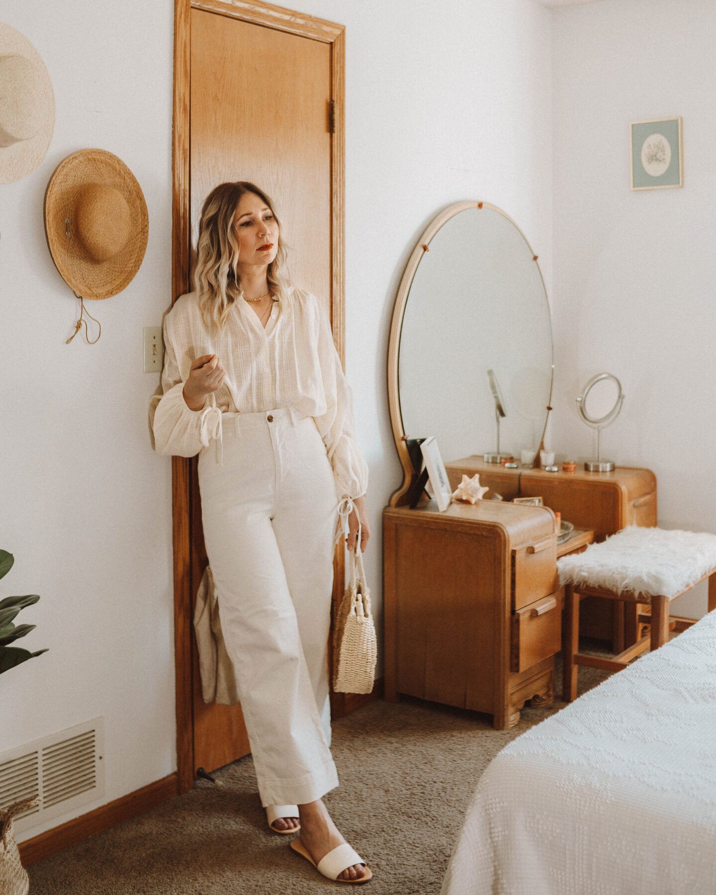 How to Style Wide Leg Pants + 6 Outfit Ideas, christy dawn faye top, gap white wide leg pants, nisolo isla slides, straw circle bag